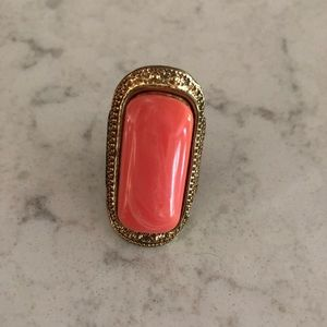 Jewelry - Coral & Gold Statement Ring